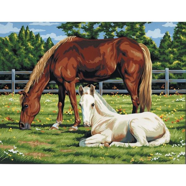 Paint By Number Kit Artist Canvas Series 11inX14inHorses In Field