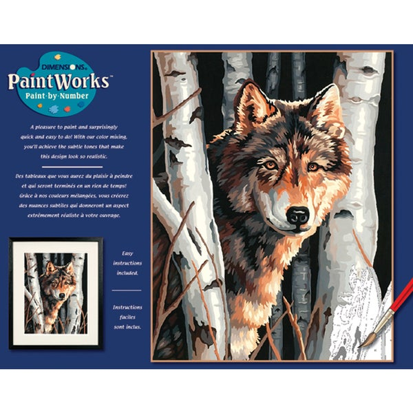 Paint Works Paint By Number Kit 11inX14inWolf In Trees