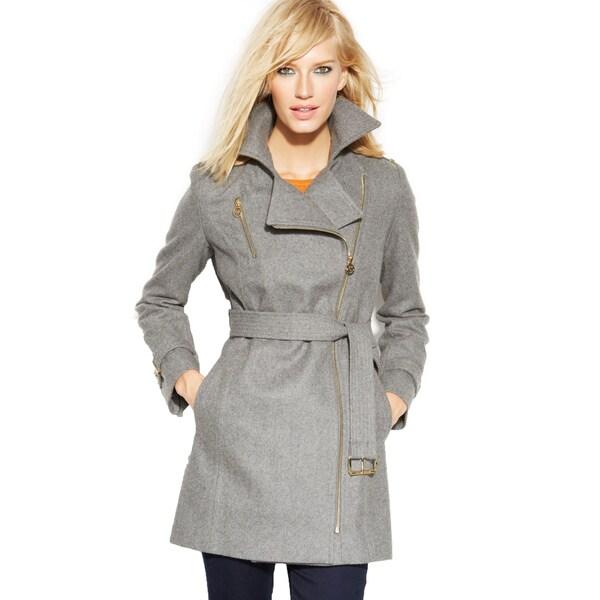 Michael Michael Kors Women's Grey Wool Belted Asymmetrical Coat