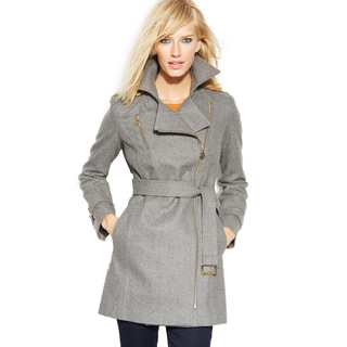 Michael Michael Kors Women's Grey Wool Belted Asymmetrical Coat
