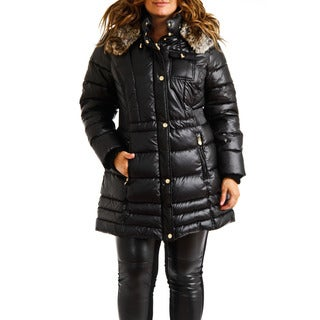 Laundry by Design Women's Plus Size Black Down Puffer Hooded Coat