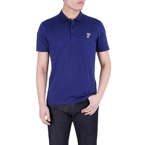 Versace Collection Men's Navy Blue Medusa Short Sleeve Polo T-Shirt