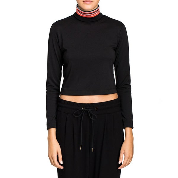 Cynthia Rowley Women's Black Racer Rib Crop Top