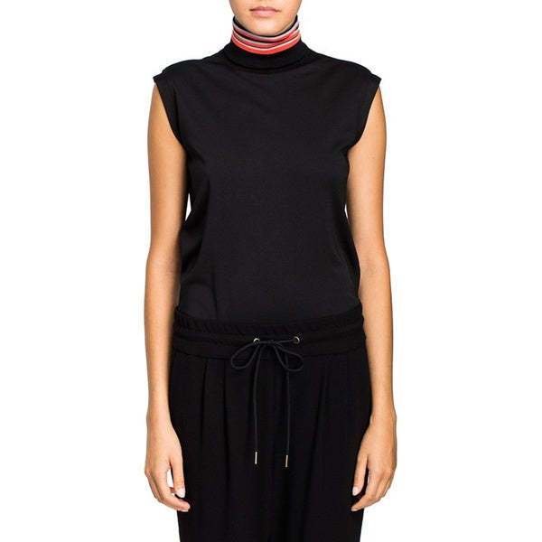 Cynthia Rowley Women's Black Sleeveless Racer Rib Crop Top