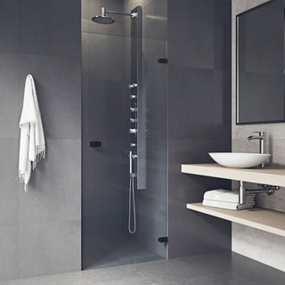 VIGO Tempo 26-inch Adjustable Frameless Shower Door with Clear Glass and Oil Rubbed Bronze Hardware