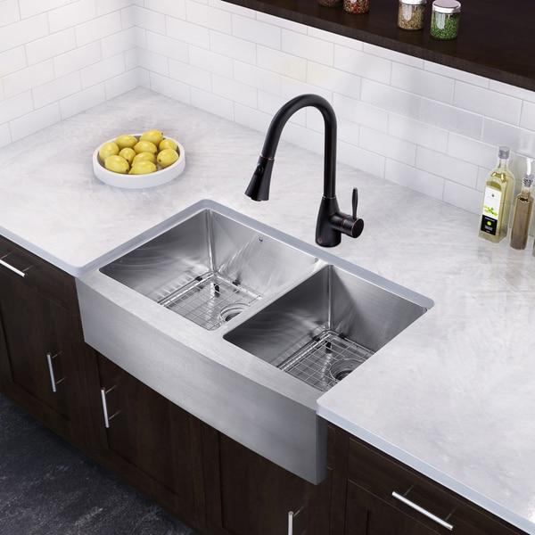 VIGO 33-inch Farmhouse Double Bowl Kitchen Sink and Aylesbury Antique ...