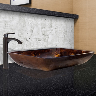 VIGO Rectangular Brown and Gold Fusion Glass Vessel Sink and Linus Faucet Set in Antique Rubbed Bronze Finish