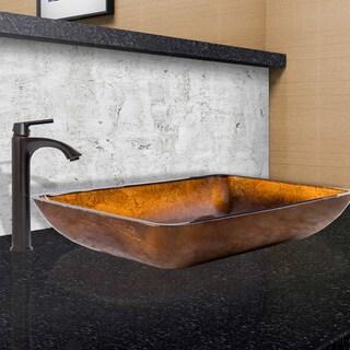 VIGO Rectangular Russet Glass Vessel Sink and Linus Faucet Set in Antique Rubbed Bronze Finish