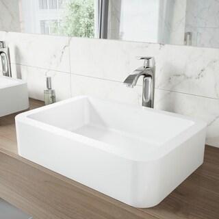 VIGO Navagio Composite Vessel Sink and Linus Bathroom Vessel Faucet in Chrome