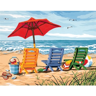 Paint Works Paint By Number Kit 14inX11inBeach Chair Trio