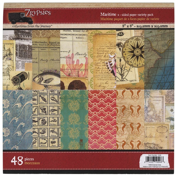 7 Gypsies Paper Pad 8inX8in 48/PkgMaritime