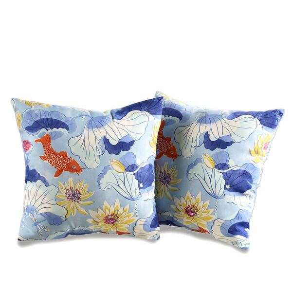 Lotus Koi Decorative Outdoor Throw Pillows (Set of 2)