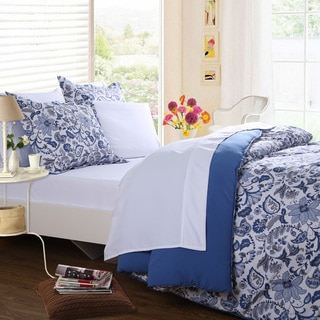 Affluence Home Fashions Blue and White Floral Paisley 7 Piece Bed-in-a-Bag