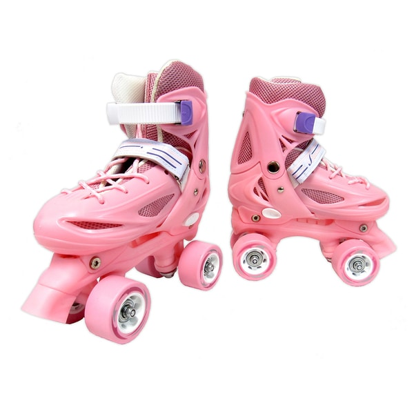 Pink Lace Up and Buckle Youth Roller Skates (Size 2 to 4)