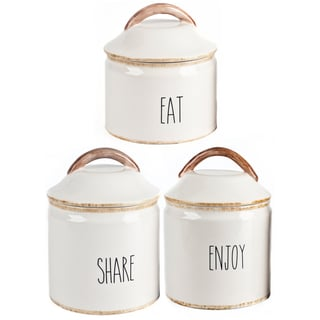 Mr. Food Test Kitchen 3-piece Ceramic Canister Set: EAT, SHARE and ENJOY