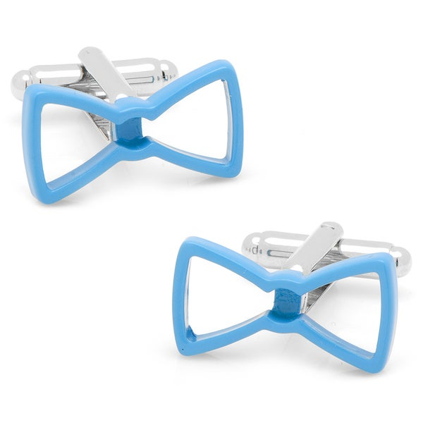 Silverplated Cool Cut Blue Bow Tie Cufflinks