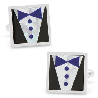 Silverplated Blue Tie Tuxedo Cufflinks