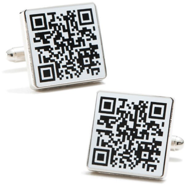 Rhodium-plated QR Code Cufflinks