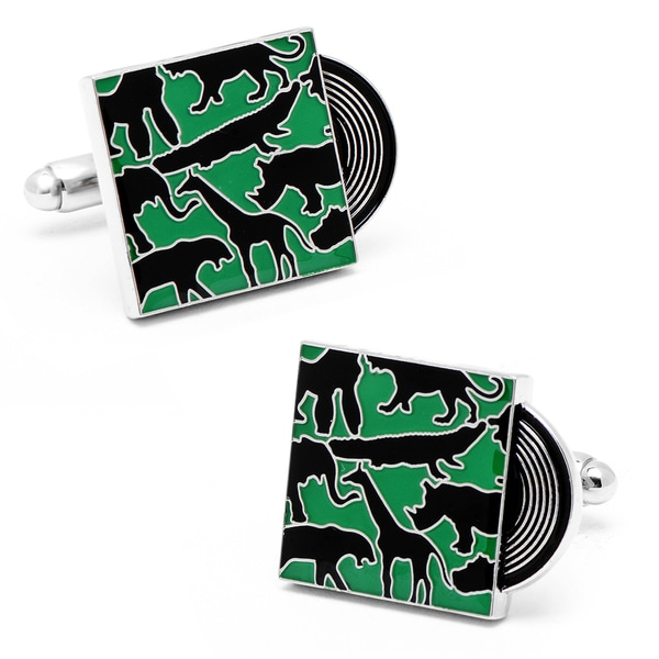 Silvertone Welcome to the Jungle Record Cufflinks