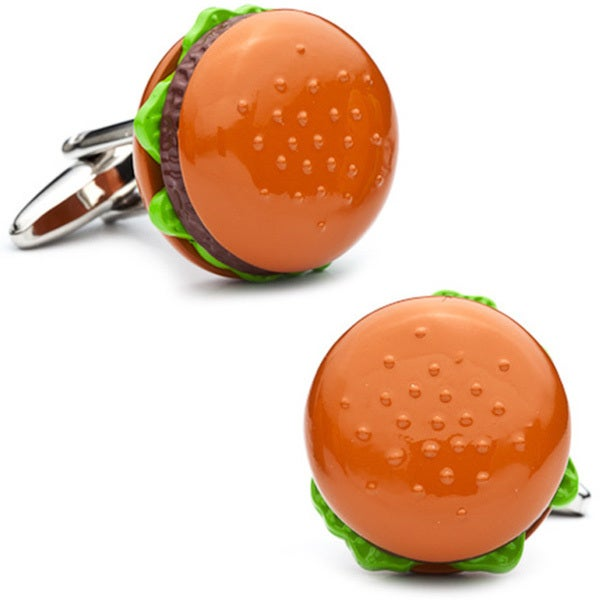 Silvertone Burger Cufflinks