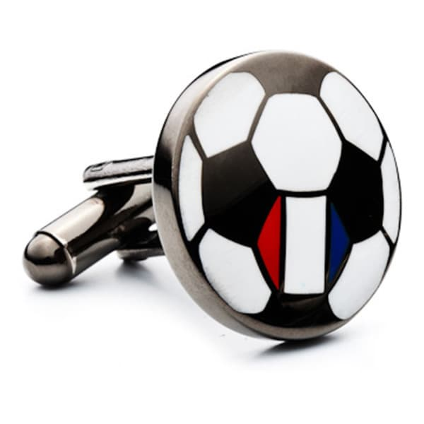 Gunmetal-plated France Soccer Flag Cufflinks