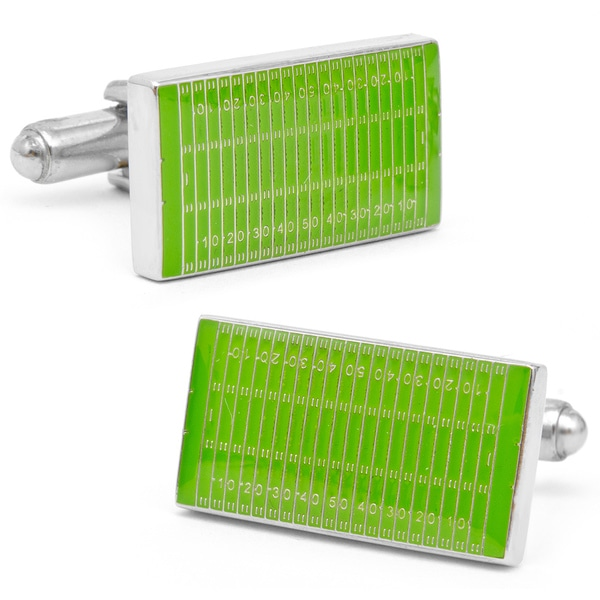 Silvertone Football Field Cufflinks
