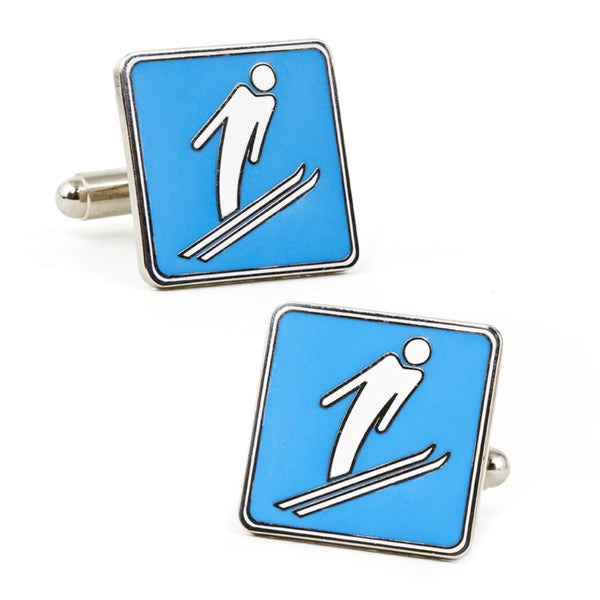 Nickel-plated Skier Cufflinks