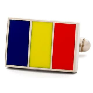 Nickel-plated Romania Flag Cufflinks