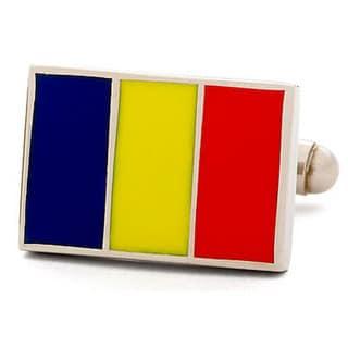 Nickel-plated Romania Flag Cufflinks
