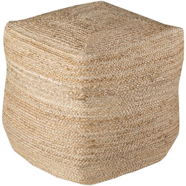 Solid Orly Square Jute 18 Inch Pouf 17643190 Overstock