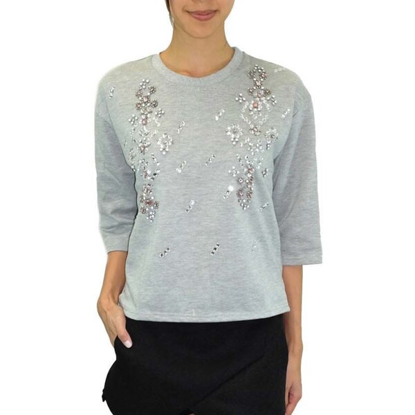 JOA Women's Bejeweled Heather Grey Sweater