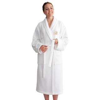 Authentic Hotel and Spa Unisex Gold Monogrammed Turkish Cotton Waffle Weave Terry Bath Robe