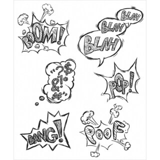 Tim Holtz Cling Rubber Stamp Set 7inX8.5inCrazy Thoughts