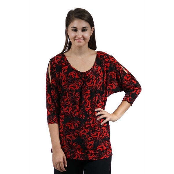 24/7 Comfort Apparel Women's Abstract Red&Black Printed Tunic