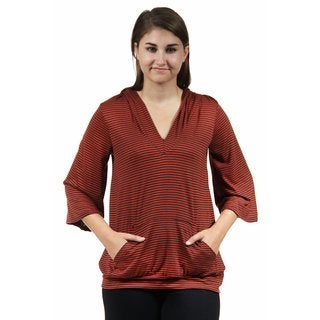 24/7 Comfort Apparel Women's 3/4 Sleeve Red Stripped Hoodie Top