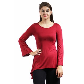 24/7 Comfort Apparel Women's Stitch Decal High-Low Tunic