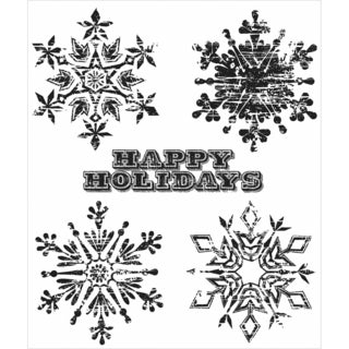 Tim Holtz Cling Rubber Stamp Set 7inX8.5inWeathered Winter