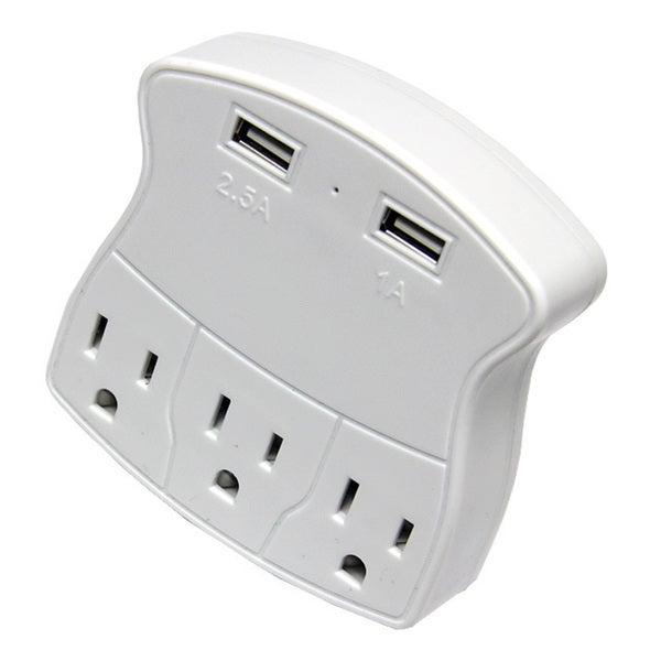 3-outlet Wall Charging Block with 2 USB Charging Ports