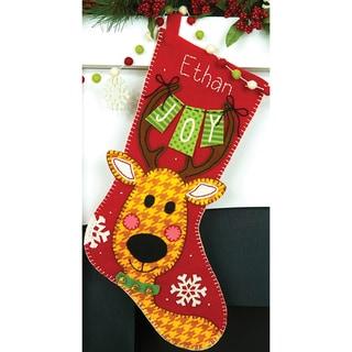 Reindeer Joy Stocking Felt Applique Kit19in Long