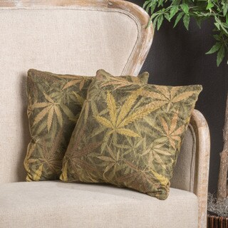 Christopher Knight Home Lori Faux Suede Weed Herb Throw Pillow (Set of 2)