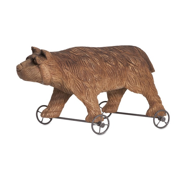 Grizzly Solid Wood Carved Bear on Wheels