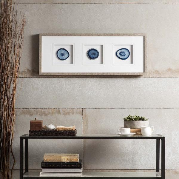 Madison Park Blue Agate Trio Framed Graphic