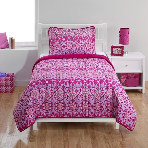 Crochet Hearts Twin 2-piece Quilt Set