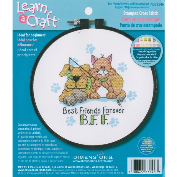 LearnACraft Best Friends Forever Stamped Cross Stitch Kit6in Round