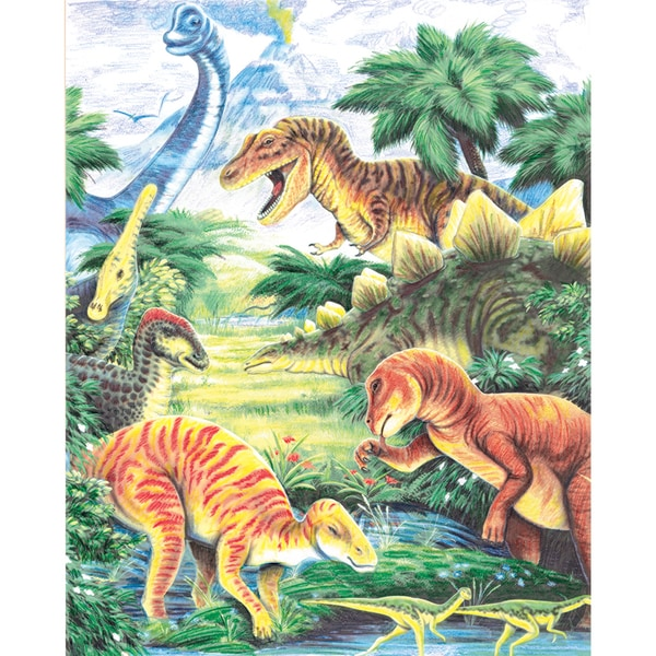 Color Pencil By Number Kit 8.75inX11.75inDinosaur Fun
