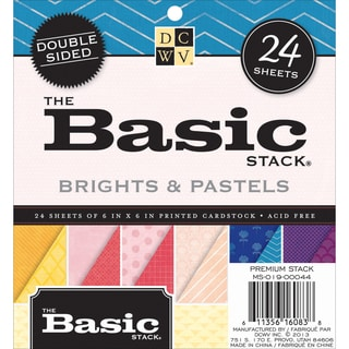 Cardstock Stack DoubleSided Printed 6inX6in 24/PkgBasic Brights & Pastels
