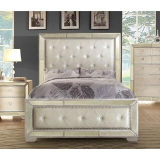 Furniture of America Maxine Modern Silver Mirrored Panel Bed