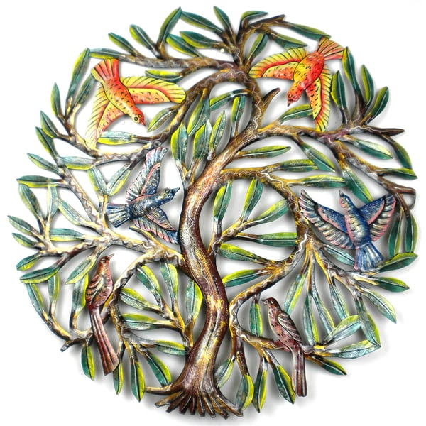 24-Inch Painted Tree of Life Metal Wall Art (Haiti)
