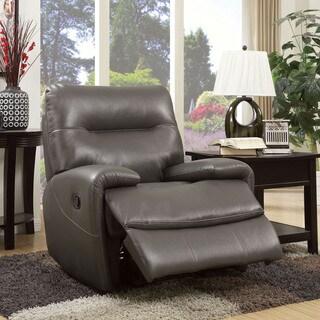 Furniture of America Taya Sleek Leath-aire Recliner