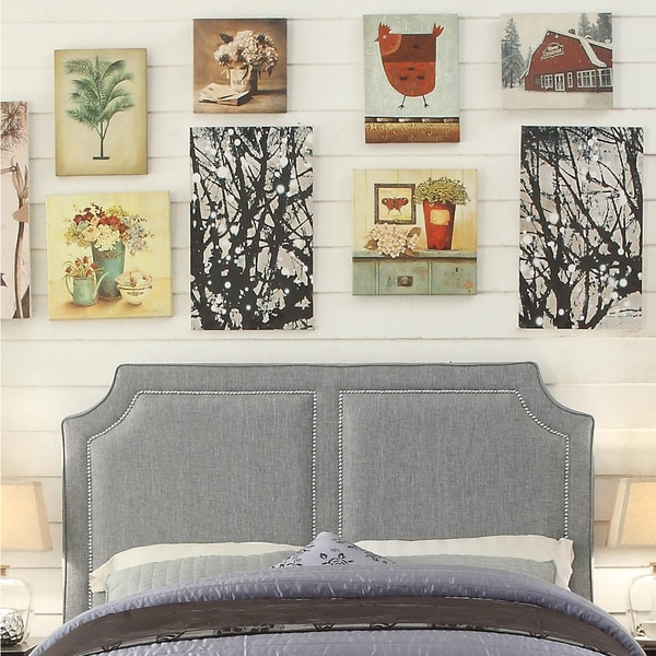 Sanibel Grey Upholstered Headboard, Queen
